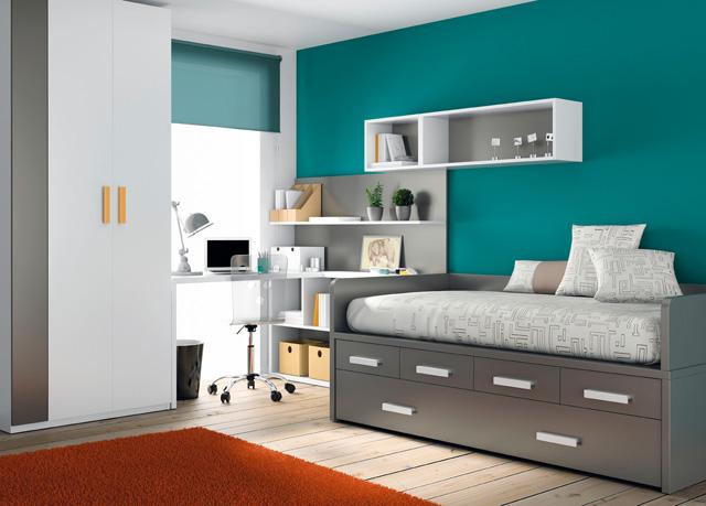 Este dormitorio combinado en tono berenjena la cama - Habitaciones infantiles pequenos espacios ...