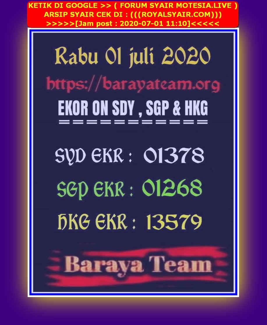 Kode syair Singapore Rabu 1 Juli 2020 191
