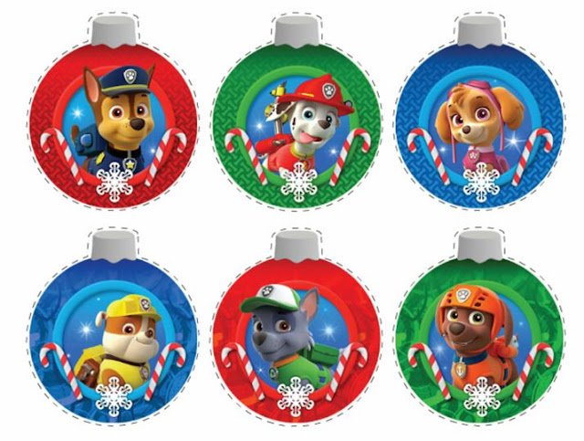 paw patrol free printable christmas ornaments