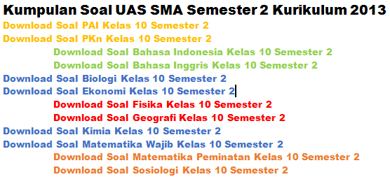 Kumpulan Soal UAS Kelas 10 SMA Semester 2 Kurikulum 2013 Semua Pelajaran