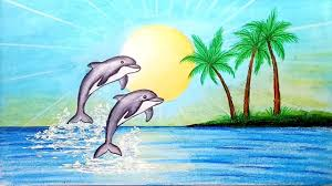 Image of Dolphins playing in water