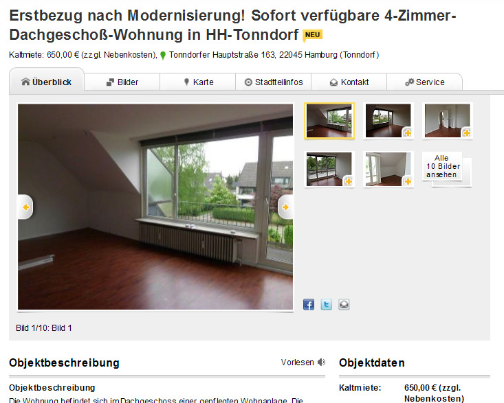 erstbezug nach modernisierung sofort verf gbare 4 zimmer. Black Bedroom Furniture Sets. Home Design Ideas