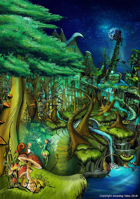 a fantastical scene with mushrooms, a squirrel, a fairy, and a tower in the background, all very curvy and colorful