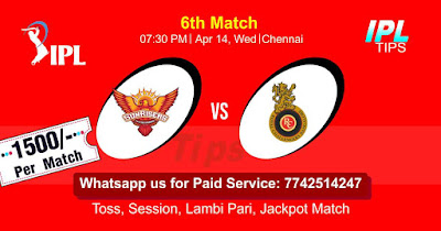 IPL T20 Hyderabad vs Bangalore 6th Match Who will win Today? Cricfrog