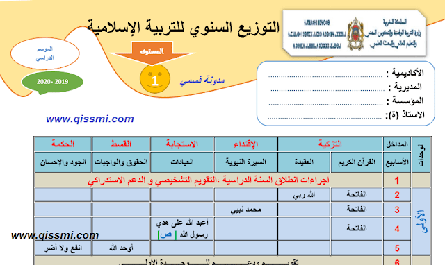 البرنامج السنوي للتربية الإسلامية المستوى الأول