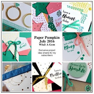 July 2016 What a Gem Paper Pumpkin Alternative Project ideas -- subscribe with Julie Davison for even more exclusive project sheets #paperpumpkin