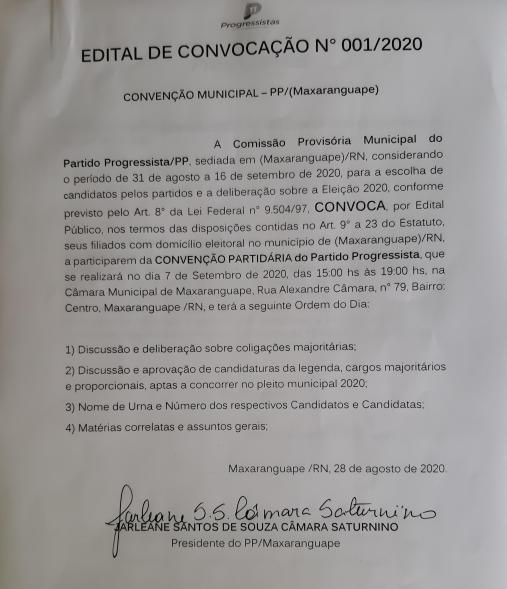 PROGRESSISTAS CONVOCA CONVENÇÃO EM MAXARANGUAPE
