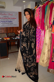 Actress Neetu Chandra Stills in Black Saree at Designer Sandhya Singh's Store Launch  0064.jpg