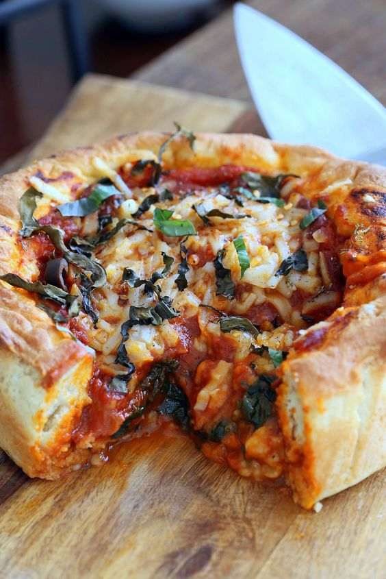 Vegan Deep Dish Pizza Recipe. Easy Deep Dish Pizza with from scratch Crust, red pepper, spinach, vegan mozzarella and basil. Vegan Pizza Recipe with Almost No Knead 20 minute Crust.. Makes 1 tall 8 ot 9 inch tall cake pan, preferably Springform pan.