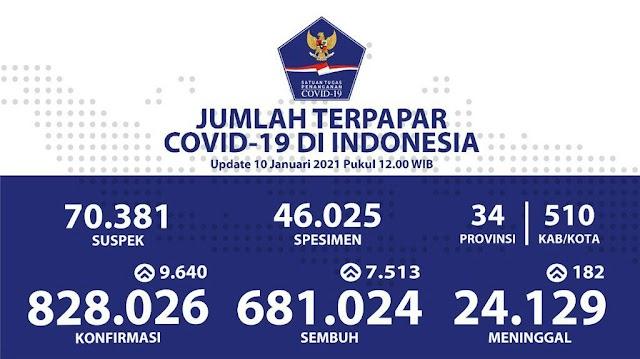 (10 Januari 2021) Jumlah Kasus Covid-19 di Indonesia