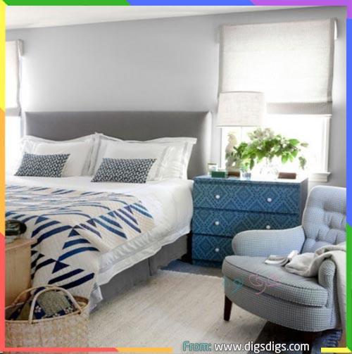غرف نوم رصاصي وازرق