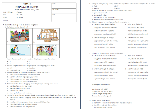Soal Semester Tema 4 kelas 5 SD/MI