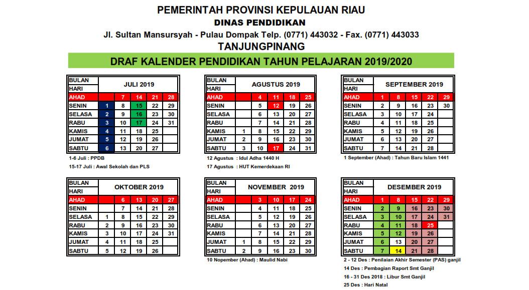 Kalender Pendidikan Provinsi Kepulauan Riau Tahun Pelajaran 2019/ 2020