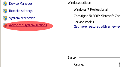 win advance system setting