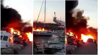 بالفيديو حريق كبير في اربعة مراكب ترفيهية في كاب زبيب من ولاية بنزرت .