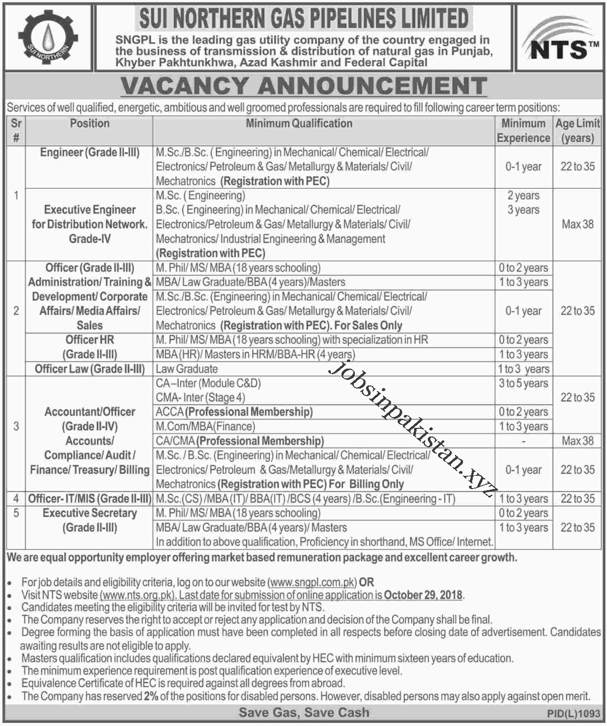 Advertisement for SUI Northern Gas Jobs 2018