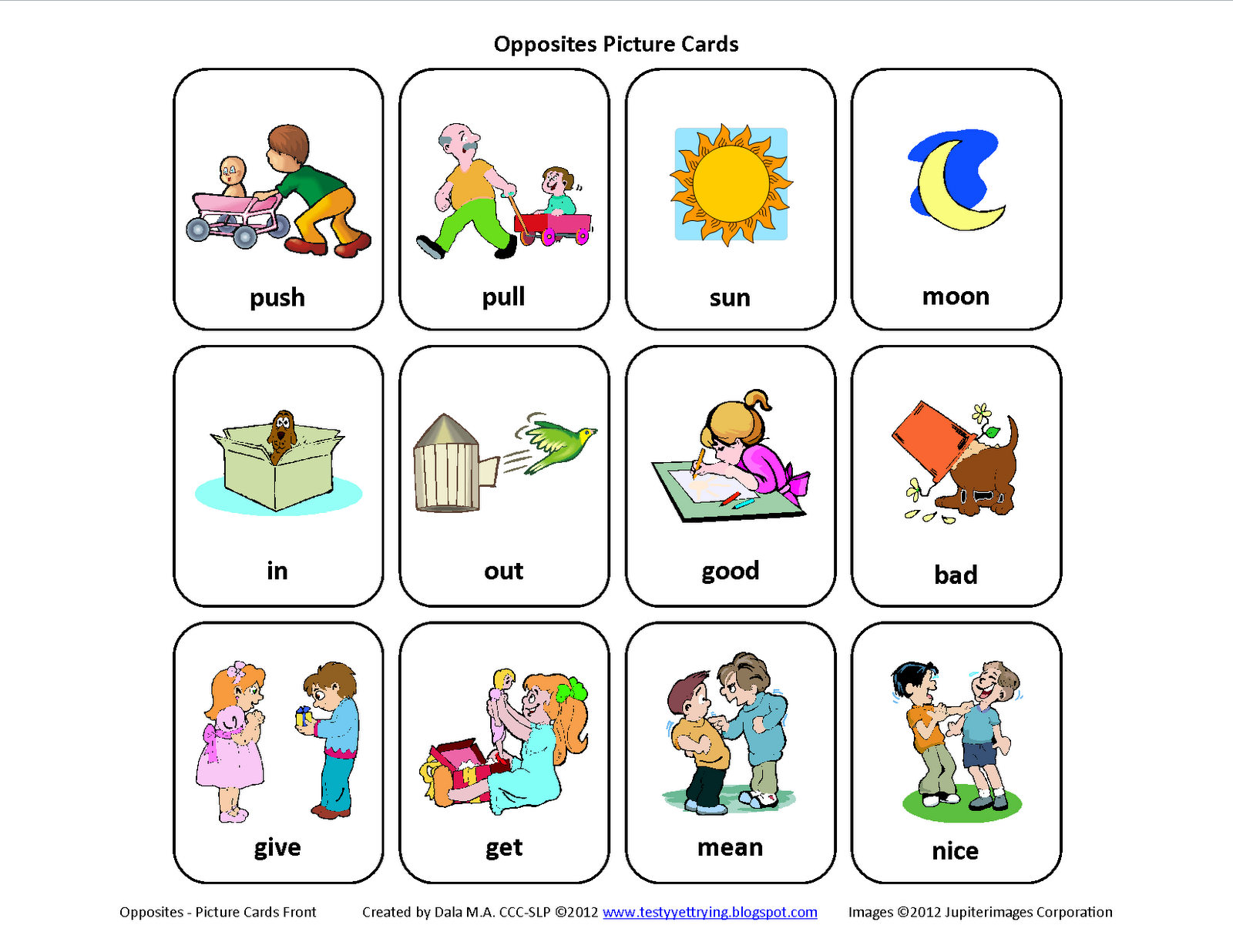 Testy Yet Trying Free Mini Set Of Opposites Picture Cards