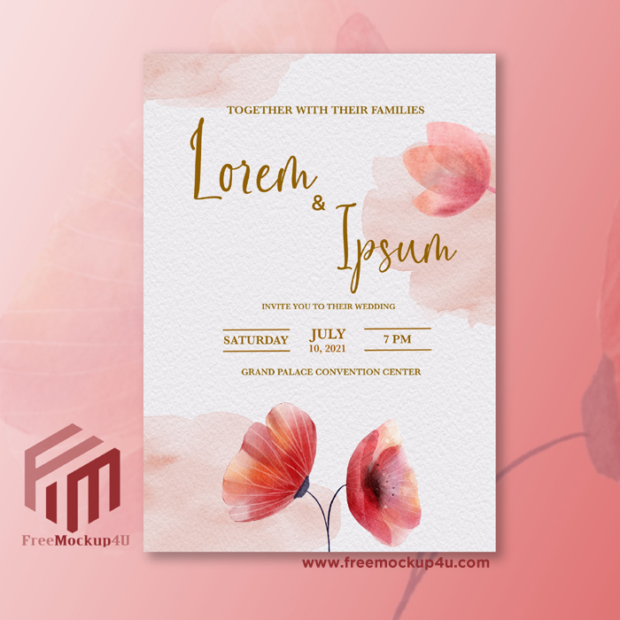 Minimalist Wedding Invitation With Watercolor Red Flower