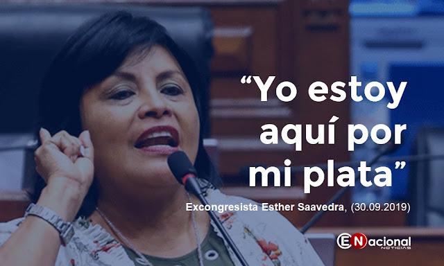 """Yo estoy aquí por mi plata"", excongresista Esther Saavedra"