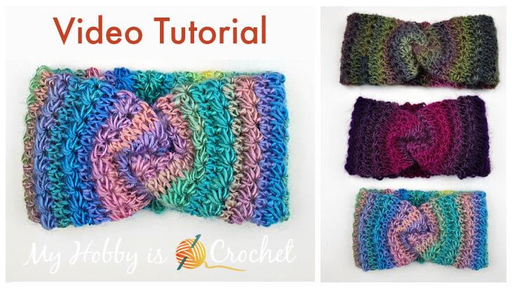 How to Crochet Double Layered Stars Twist Headband