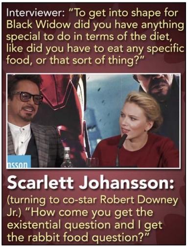 UNICAMP 2021: A situação abaixo ocorreu em uma entrevista com a atriz Scarlett Johansson e o ator Robert Downey Junior, que atuaram juntos em um filme.