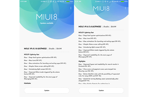 Screenshot of MIUI 9 OTA Update