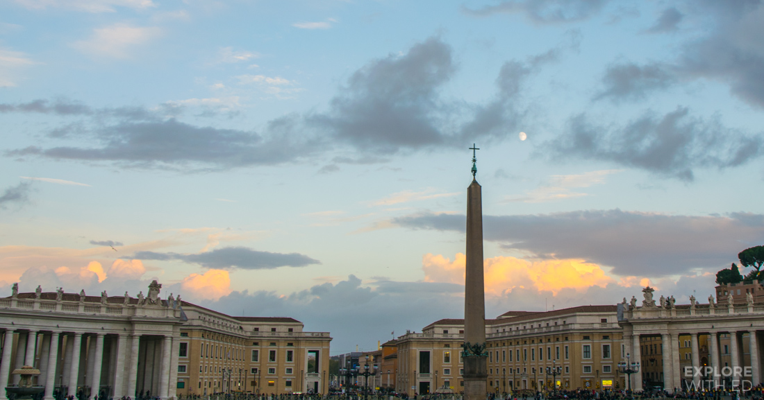View of St Peter's Square at sunset from the Basilica