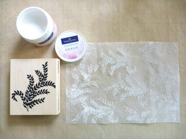 Gesso Stamped Dryer Sheet with Leaf Print