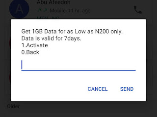 Get 1gb for as low as 200 Naira. Validity is 7 days