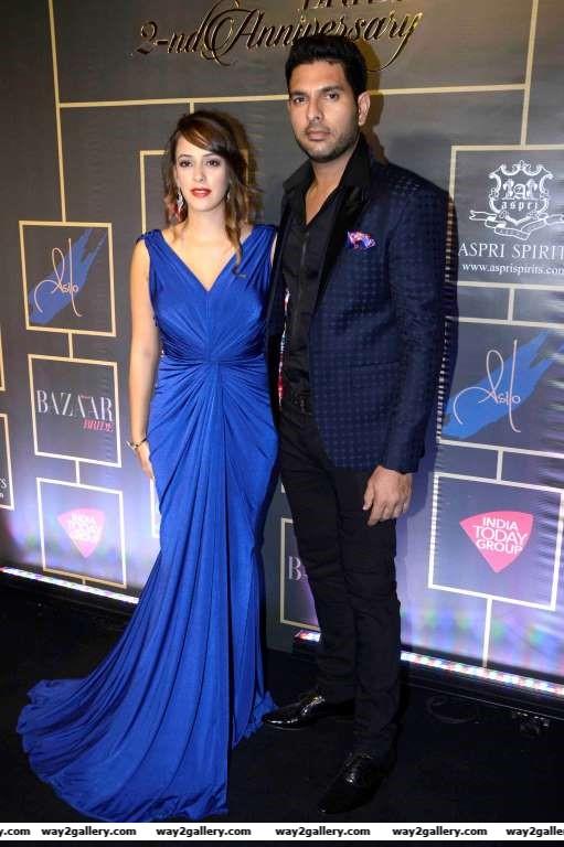 Hazel Keech and Yuvraj Singh arrive for Harpers Bazaar Bride nd anniversary bash