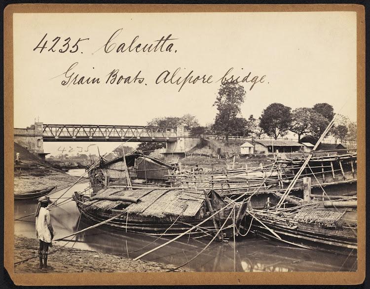 Grain Boats Alipore bridge Calcutta ( Kolkata ) - Mid 19th Century