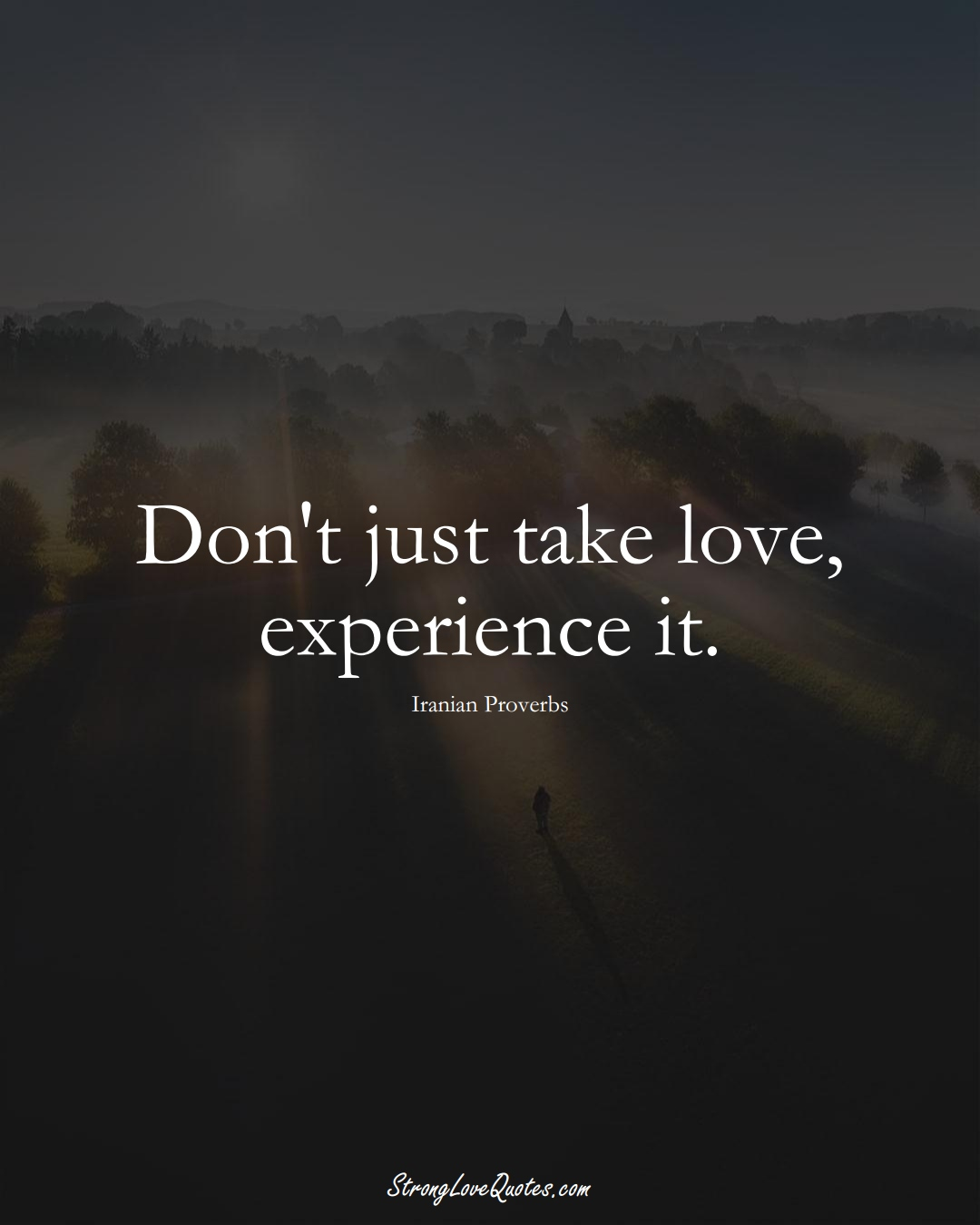 Don't just take love, experience it. (Iranian Sayings);  #MiddleEasternSayings