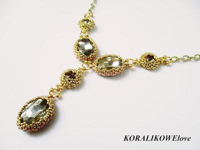 naszyjnik z kryształkami z koralików