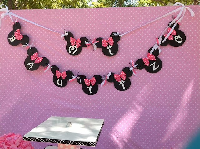 Pink Minnie Mouse Party banner