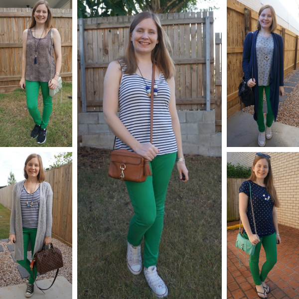 easy green jeans outfit ideas with printed tops away from the blue