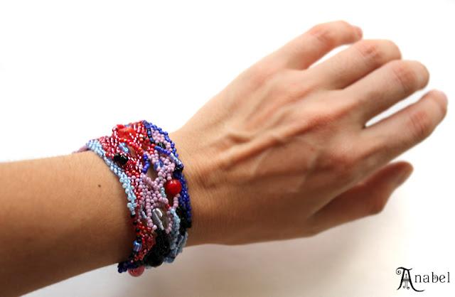 купить необычные украшения ручной работы оригинальный браслет из бисера фриформ