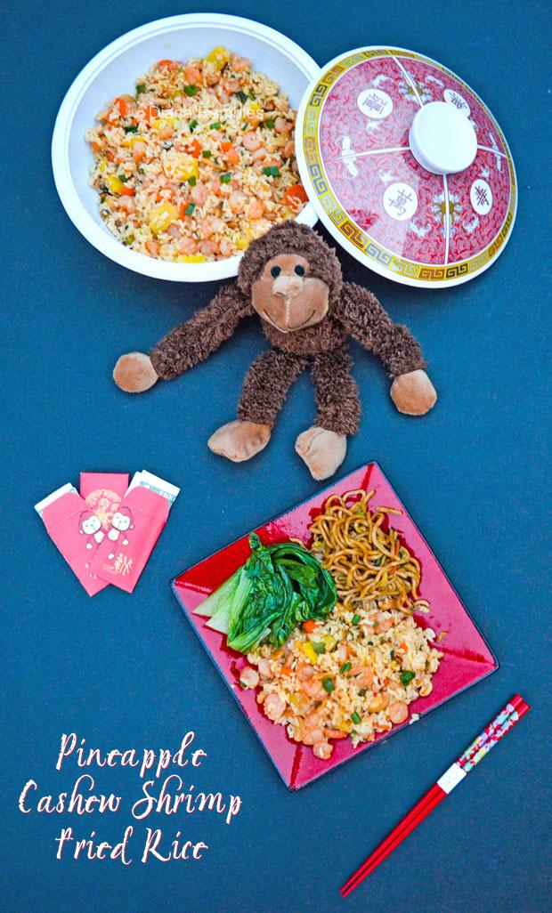 Pineapple Cashew Shrimp Fried Rice #ChineseNYEats AD #recipe