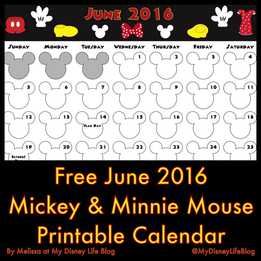 My Disney Life June 2016 Calendar