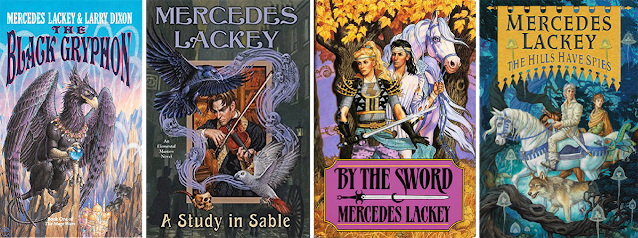 """Left to right, some book covers by Jody A. Lee: """"The Black Gryphon,"""" by Mercedes Lackey and Larry Dixon; """"A Study in Sable,"""" """"By the Sword,"""" and """"The Hills Have Spies,"""" all by Mercedes Lackey."""