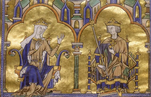 Manuscrito iluminado - século XIII. Blanca de Castela e São Luís. Paris, França