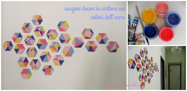 Esagoni in cartone dipinti con colori acrilici per decorare una parete primaverile