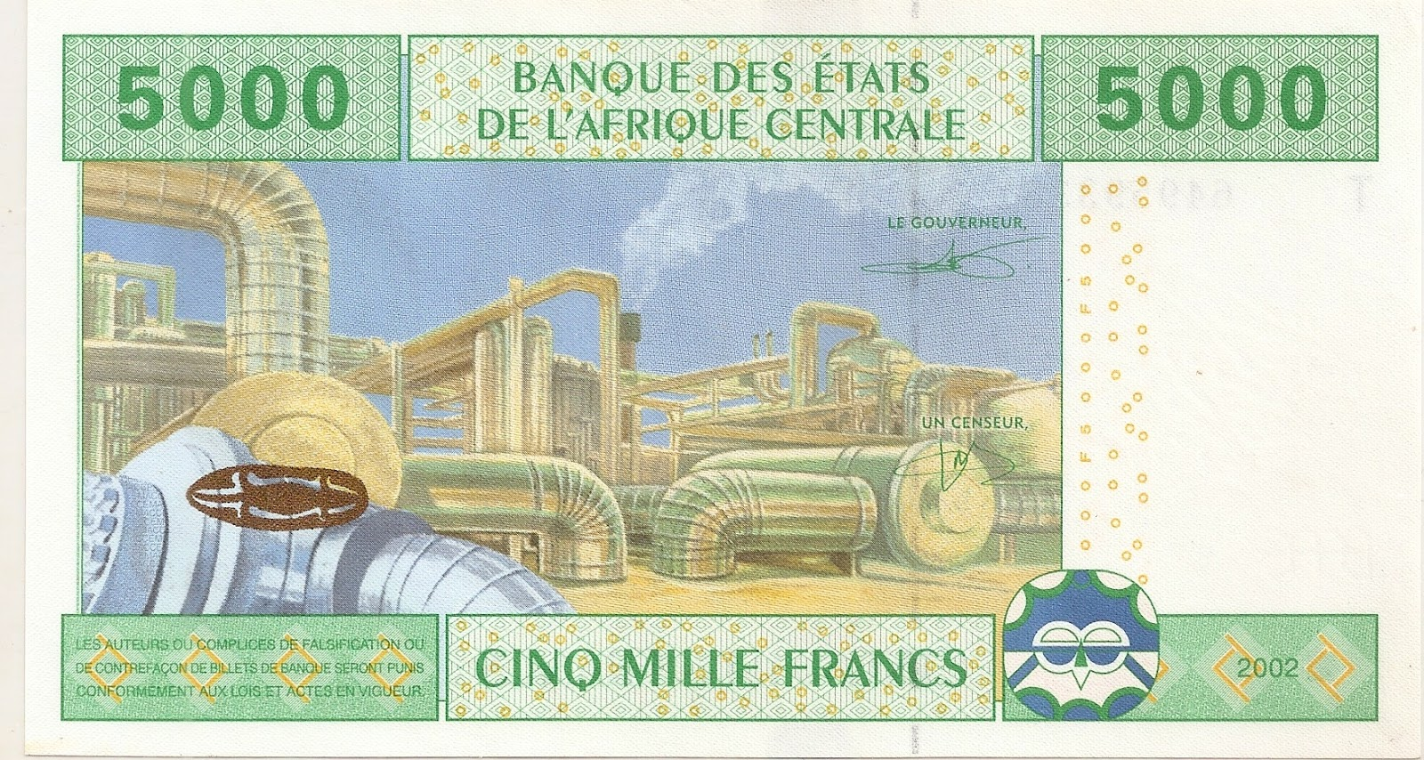 Coins and more 90 a central bank of west african states issues the back of a 5000 francs or cinq mille francs banknote the image shows an oil pumping station biocorpaavc