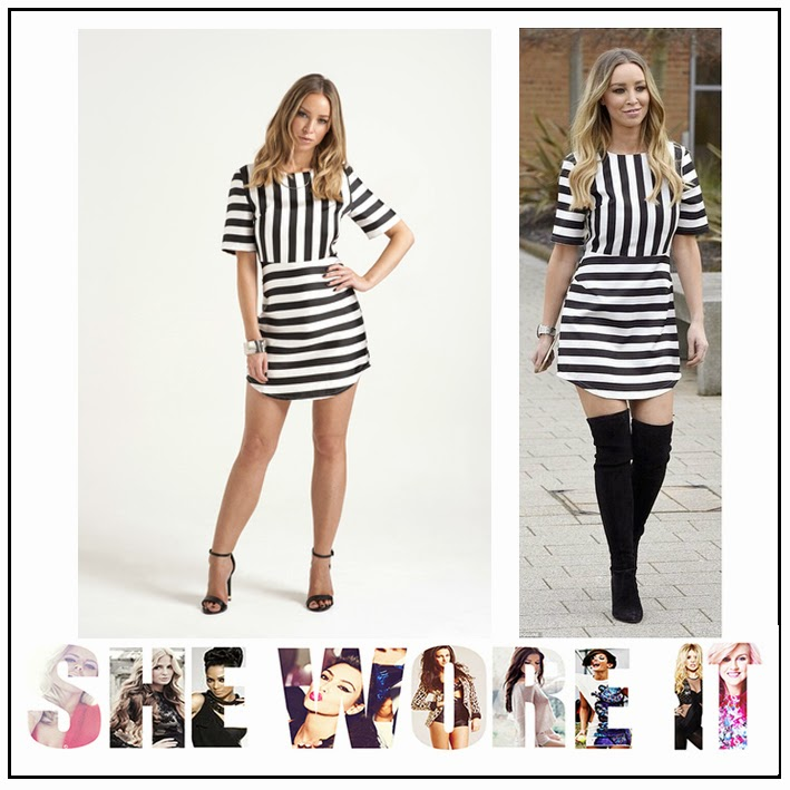 Black, Celebrity Fashion, Celebrity Style, Horizontal Stripe, In The Style, Lauren Pope, Mini Dress, Structured, Tailored, The Only Way Is Essex, TOWIE, Vertical Stripe, White Monochrome,