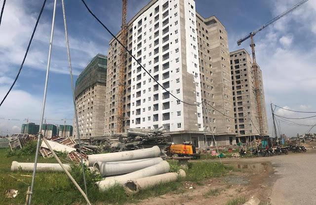 Hình ảnh 3 tòa chung cư HH01 Thanh Hà đang được hoàn thiện