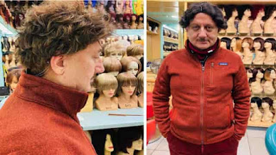 Anupam Kher arrives at the wig store