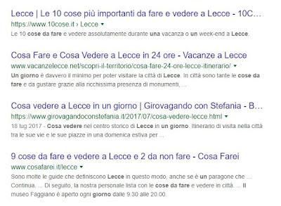 esempio di snippet su google search