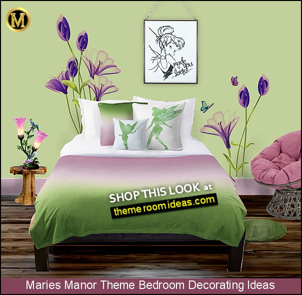 TINKERBELL WALL DECAL flower wall decals tinkerbell bedding tinkerbell bedroom decor