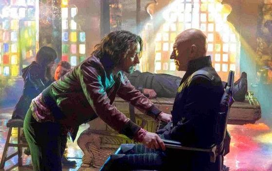 X-Men: Days of Future Past, directed by Bryan Singer, Charles Xavier (James McAvoy) meets Professor X (Patrick Stewart)
