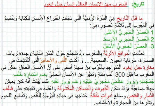 درس المغرب مهد الإنسان العاقل مكون التاريخ المستوى السادس