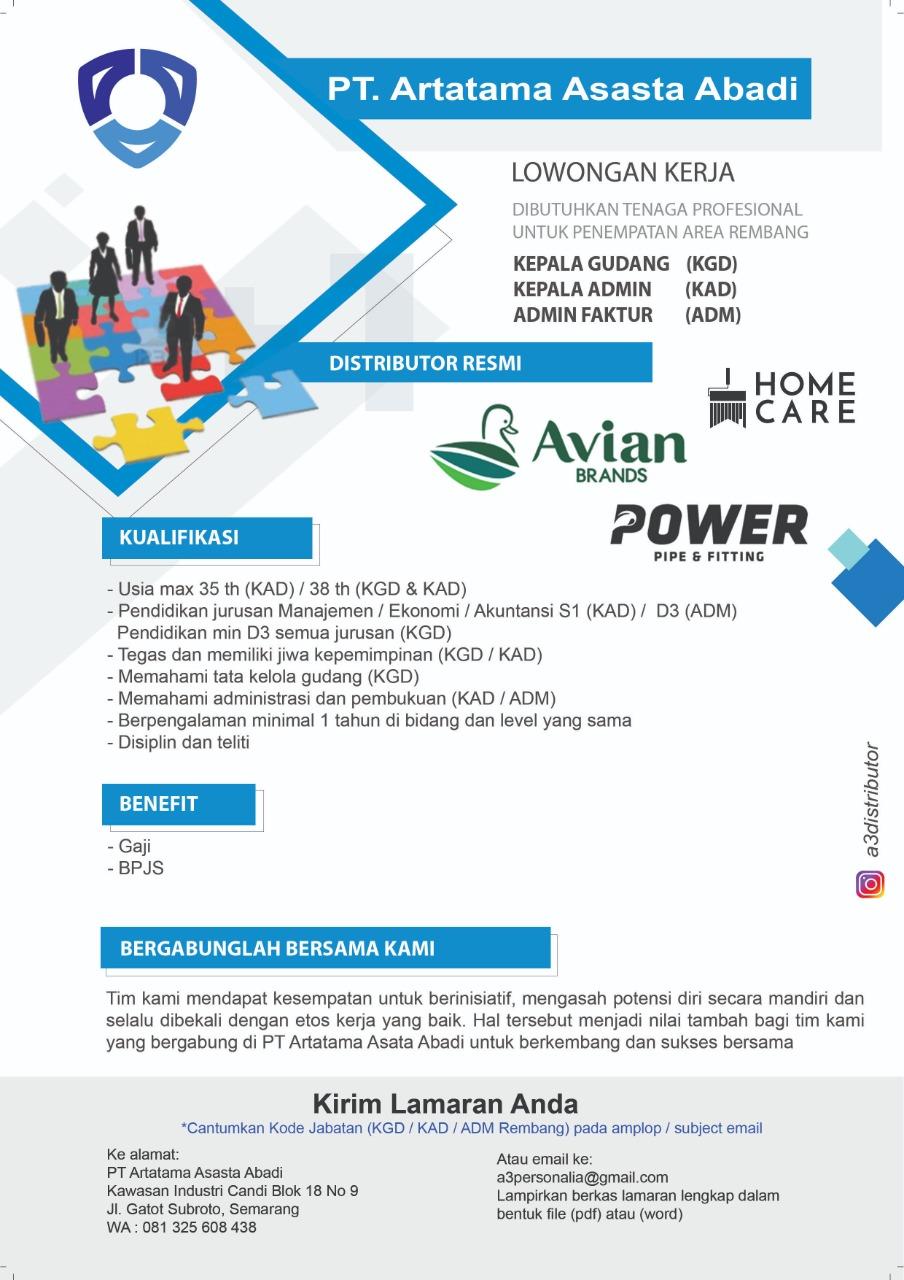 3 Posisi Lowongan Kerja PT. Artatama Asasta Abadi Area Rembang